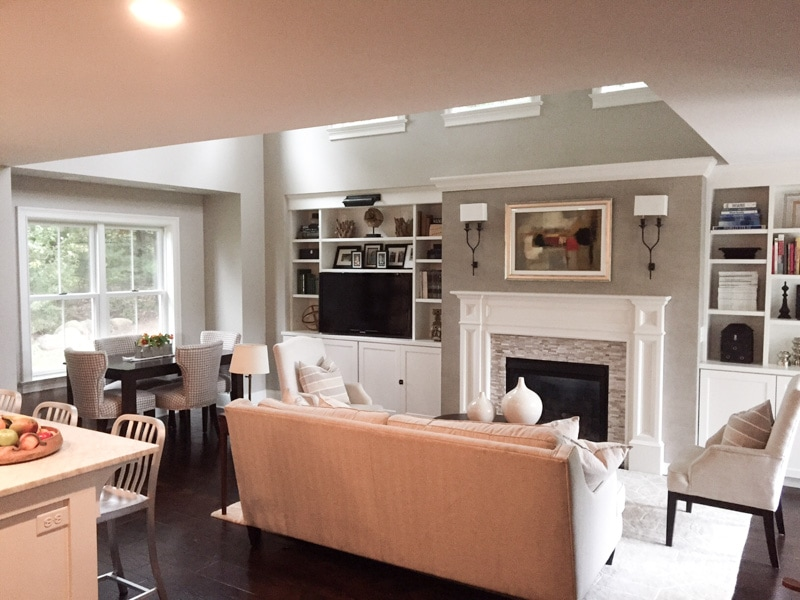 living, room, addition, interior, design, fireplace, built-ins, daylight