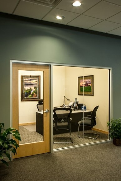 private banking, office, glass wall, artwork